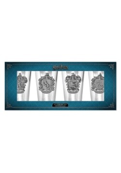 Harry Potter Crests 4 pc 16 oz Glass with Metal Base