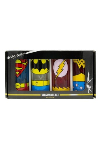 DC Comics Uniforms 10 oz 4pc Glass Tumbler Set