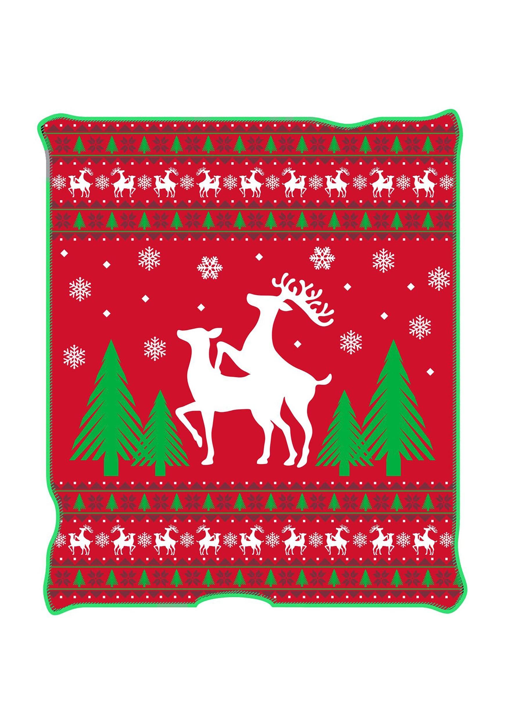 ugly christmas happy reindeer 50 x 60 throw blanket
