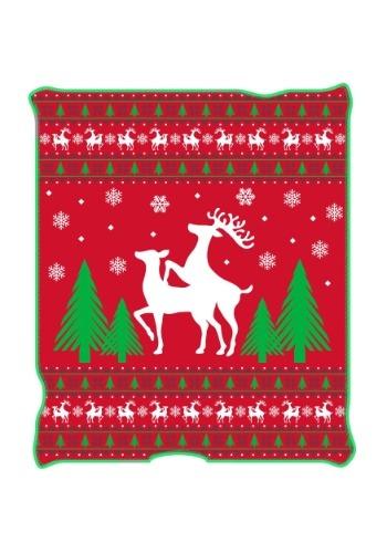 """Ugly Christmas Happy Reindeer 50"""" x 60"""" Throw Blanket"""