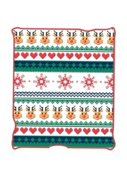 "Ugly Christmas Deer & Hearts 50"" x 60"" Throw Blanket"