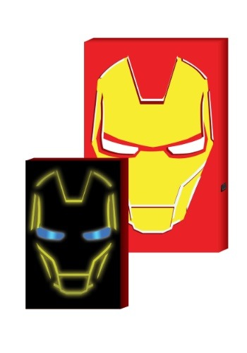 Iron Man LED-lit Hero face MDF box art
