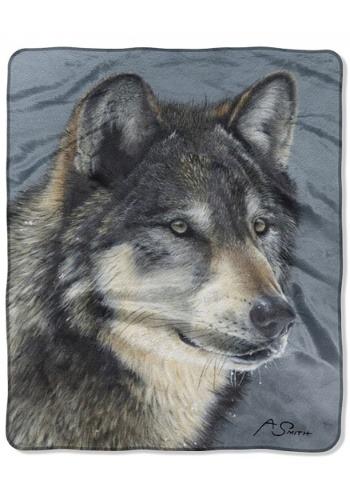 """Cold Stare Wolf 50"""" x 60"""" Raschel Throw"""