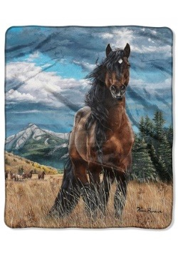 "Freedom Horse 50"" x 60"" Raschel Throw"
