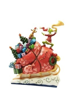 Grinch on Sleigh Statue