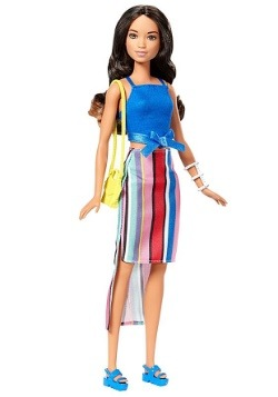 Barbie Fashionista Blue Top Striped Skirt