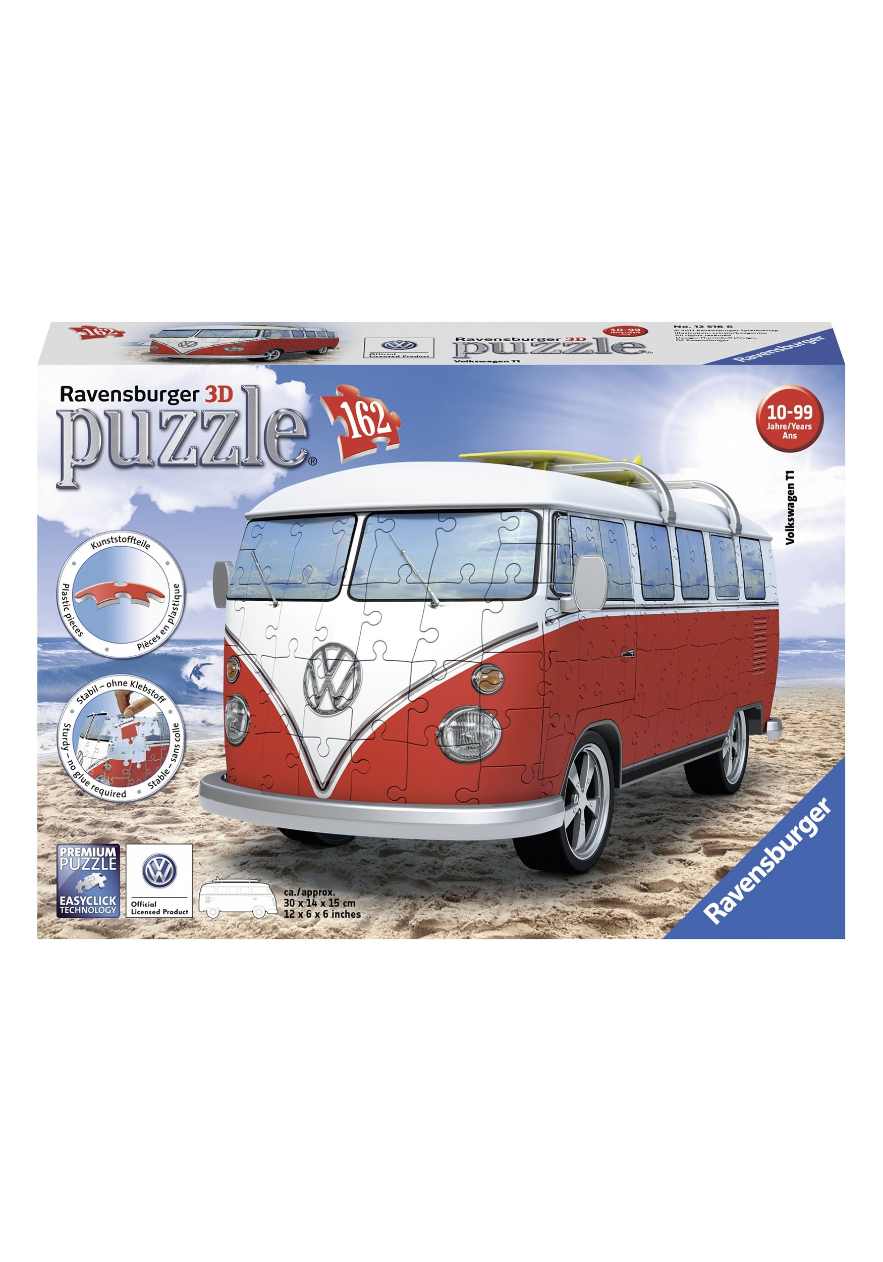 vw bus t1 162 piece ravensburger 3d puzzle. Black Bedroom Furniture Sets. Home Design Ideas