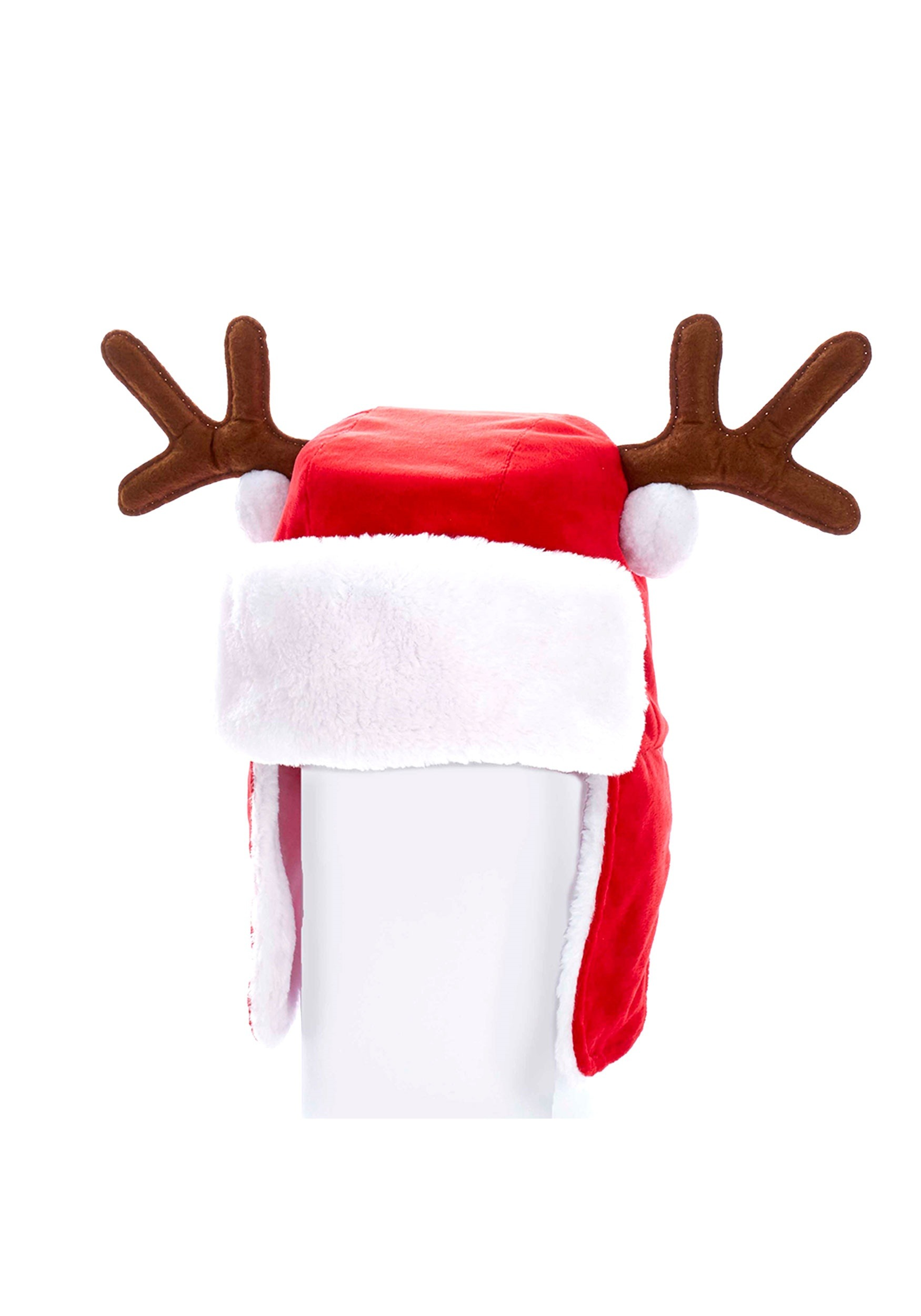 12 plush red adult christmas hat w antlers