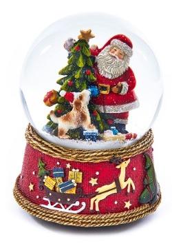 Santa w/ Dog Musical Waterglobe1