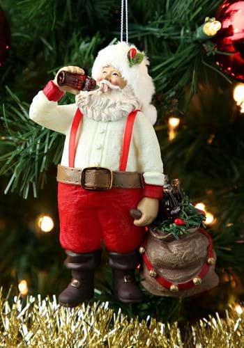 Santa Drinking Coca-Cola Molded Ornament