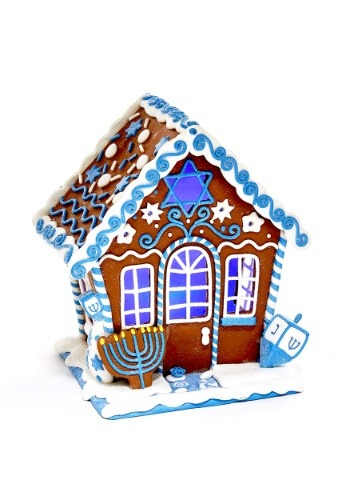 "7"" Claydough Hanukkah Gingerbread LED House Table-piece1"
