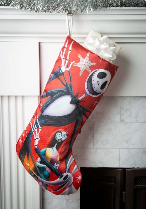 """19"""" Nightmare Before Christmas Jack & Sally Satin Stocking"""