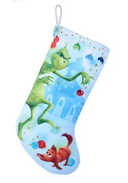 "19"" Naughty Grinch w/ Glitter Satin Christmas Stocking"