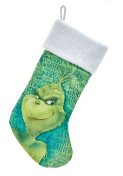 "19"" Grinch White Plush Cuff Satin Stocking"