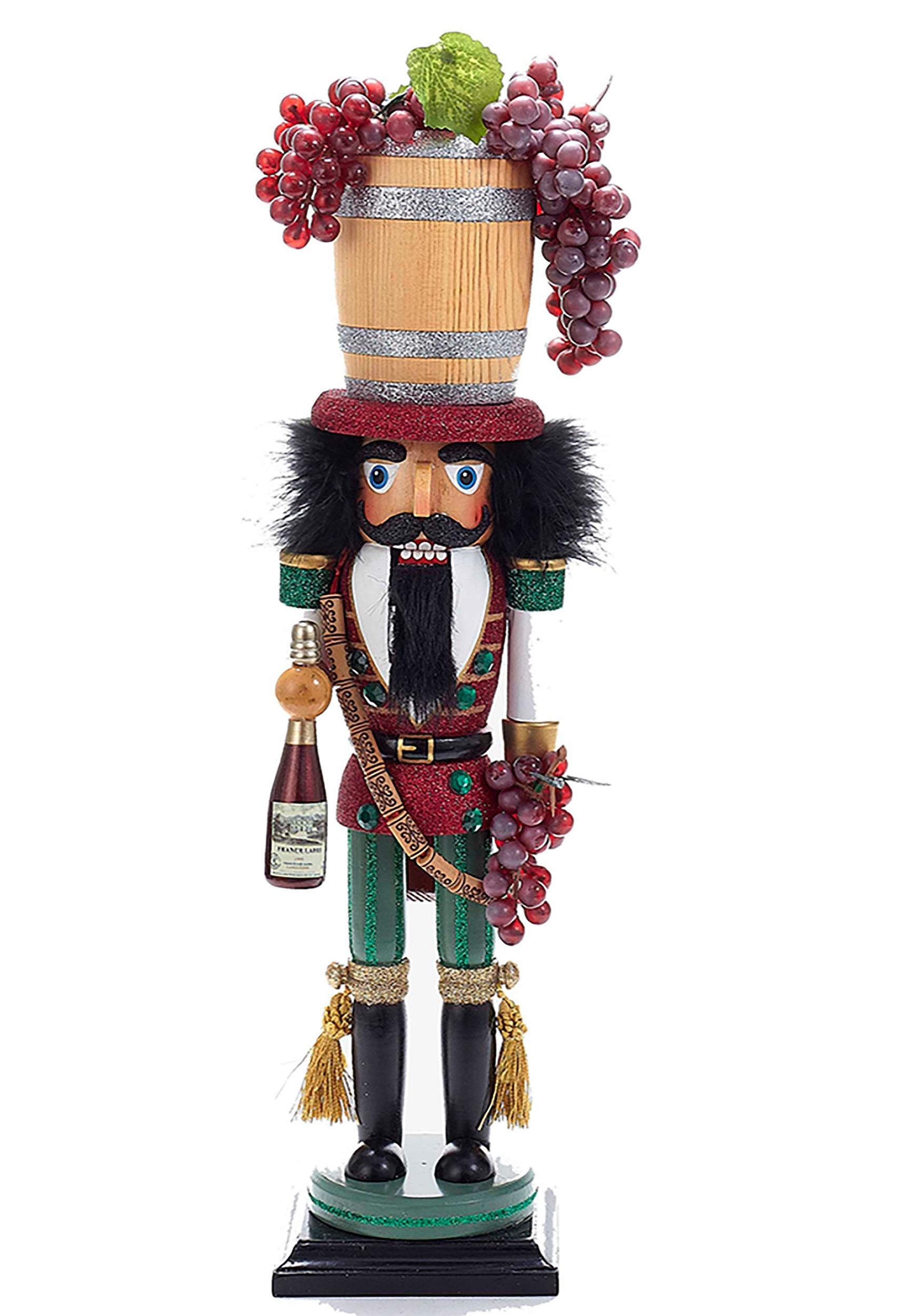 189 Holly Wood Wood Wine Barrel Hat Nutcracker