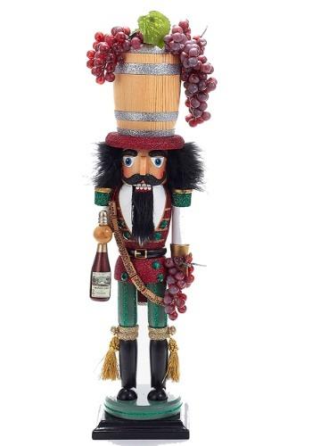 "18.9"" Holly Wood Wood Wine Barrel Hat Nutcracker"
