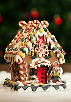 "8"" Claydough Gingerbread House w/ Lights upd"