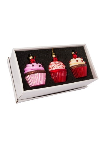Noble Gems Cupcake 3 65 Glass Ornament 3pc Set