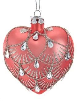 3 Kurt Adler Noble Gems Dark Pink Heart Ornament
