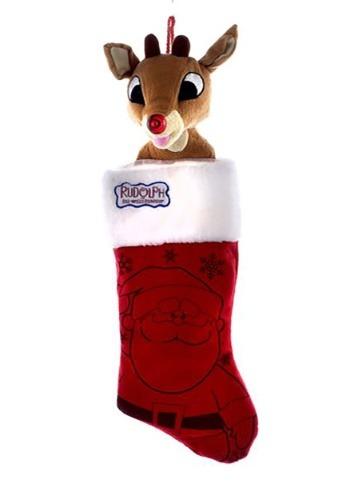 Rudolph Plush Head Christmas Stocking1