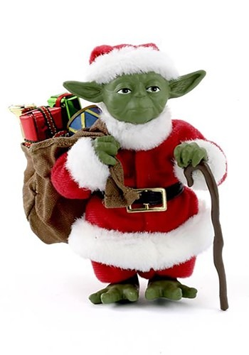 "5"" Fabriche Santa Yoda Christmas Tablepiece Decor Update Mai"