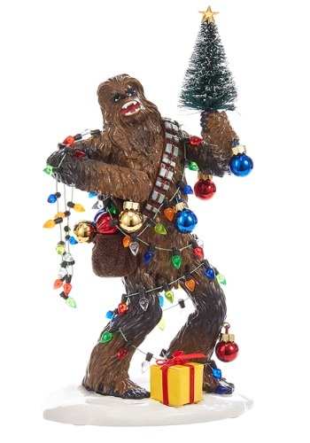 "8"" Star Wars Fabric Mache Chewy w/ Tree Christmas Tablepiece"