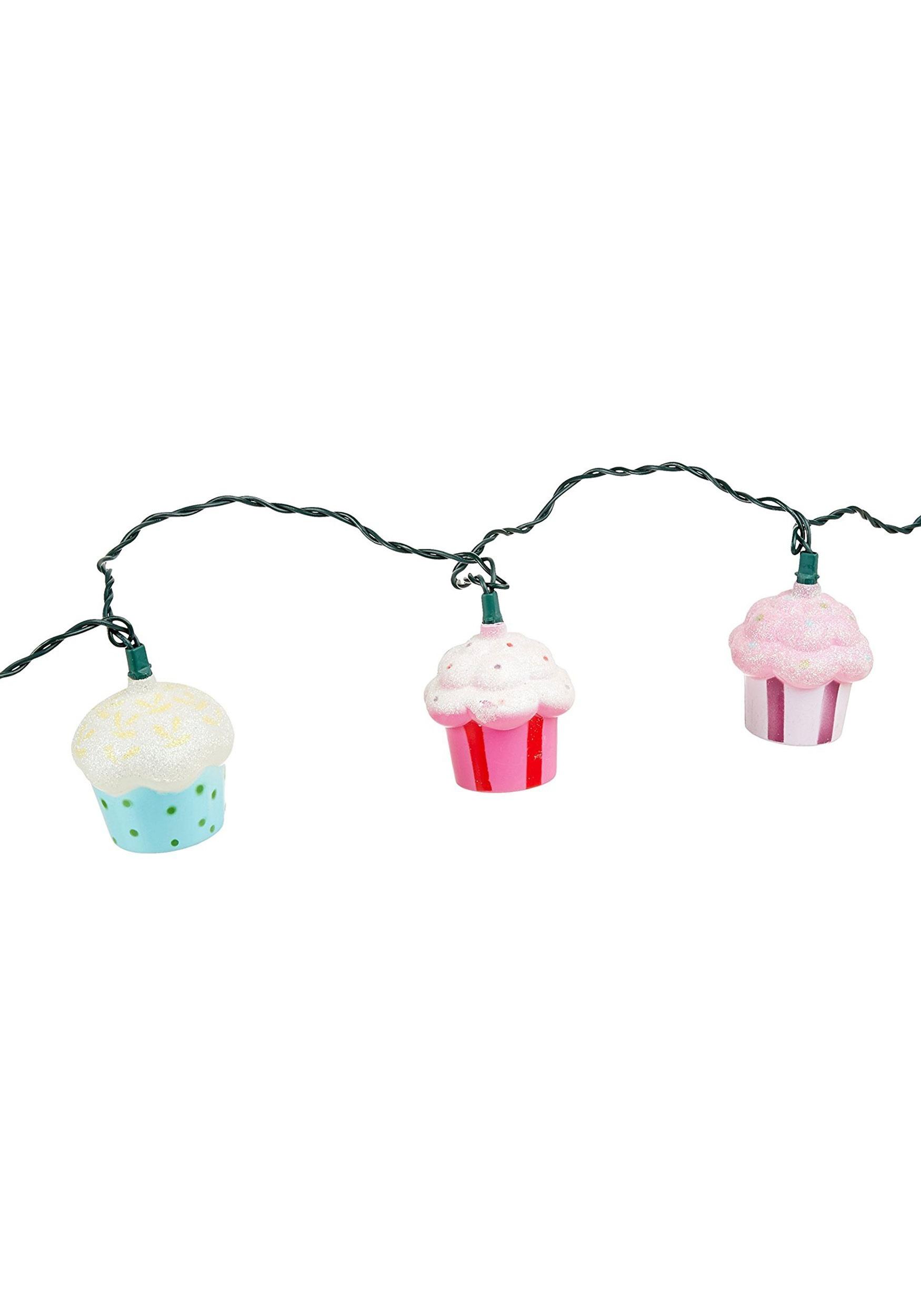 10-Piece Plastic Cupcake String Light Set