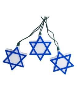 Star of David Hanukkah 10 Piece String Light Set