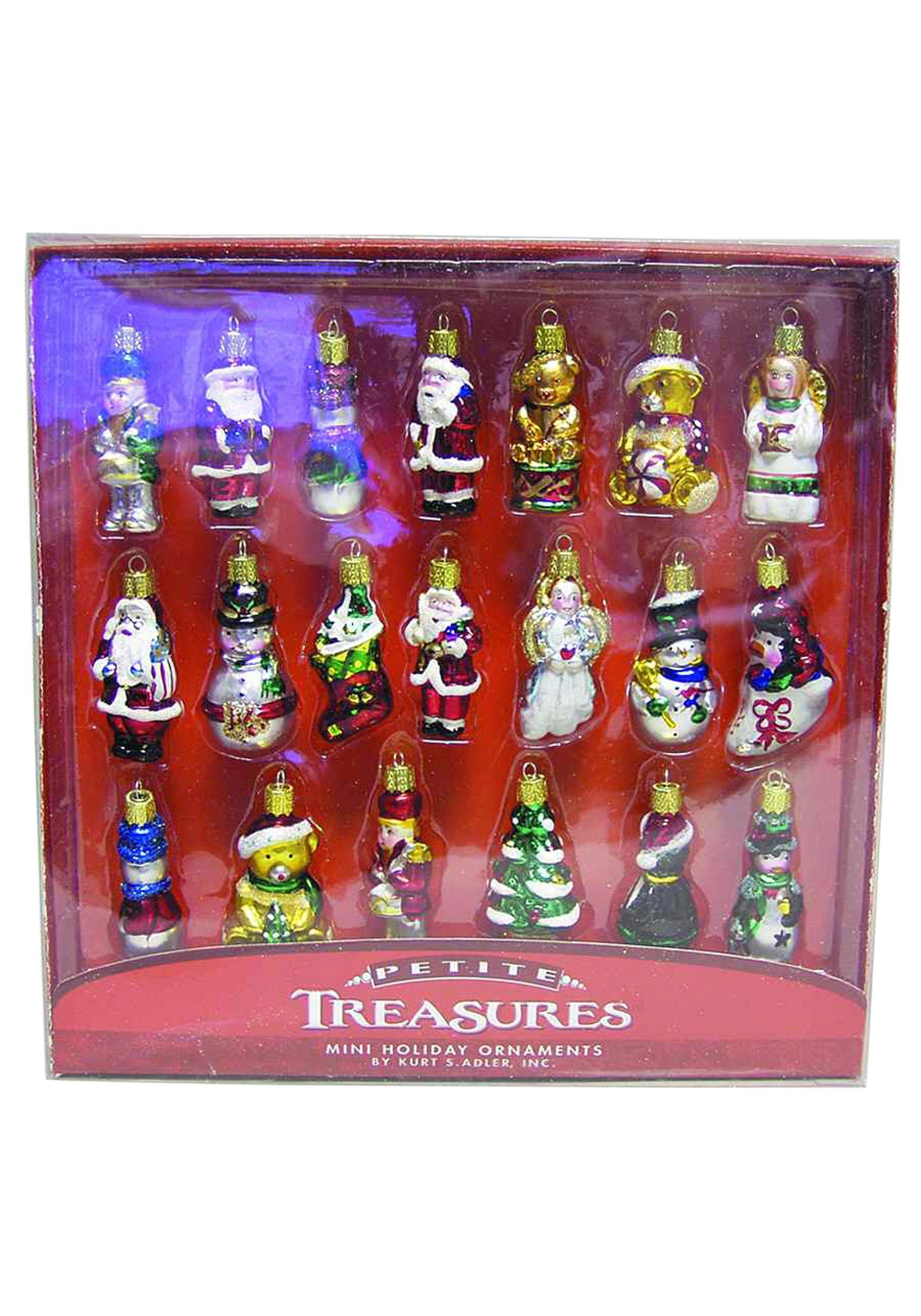 2 petite treasures 20pc christmas mini glass ornament set