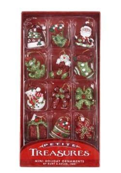 Petite Treasures Mini Glass Christmas 12 Pc Ornament Set