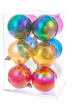 Plastic Iridescent 12pc Ball Ornament Set