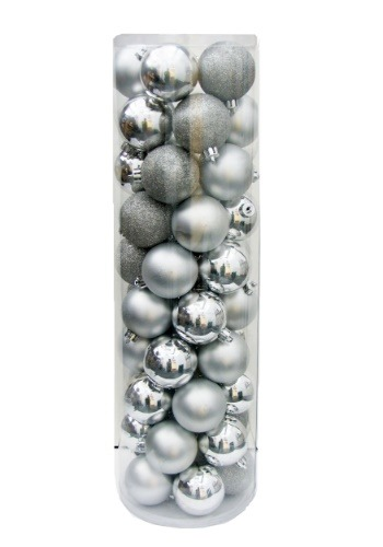 50 pc Silver Shatterproof Christmas Ornament Ball Set