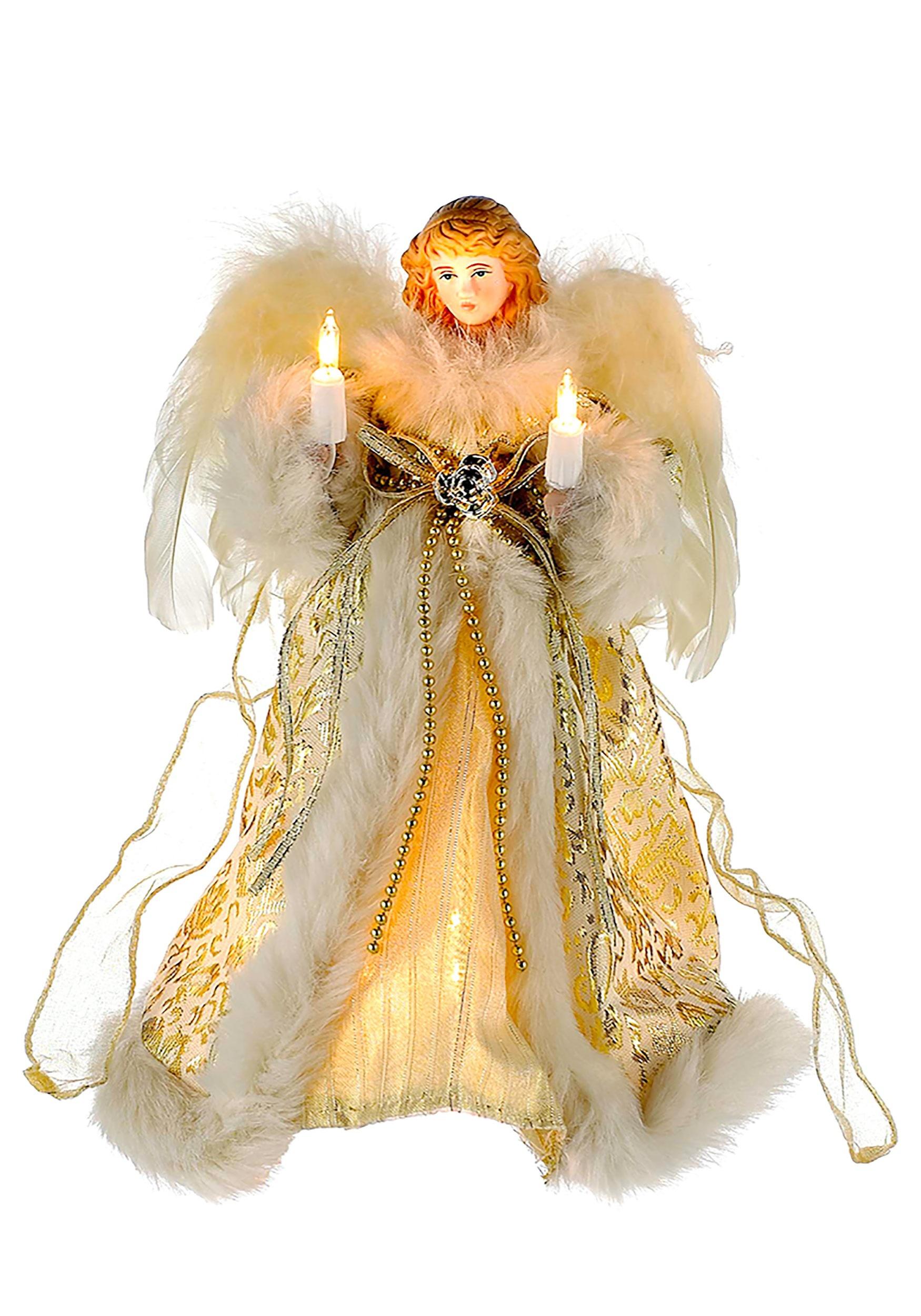 Christmas Angel Tree Topper.10 Ivory Gold Angel Tree Topper