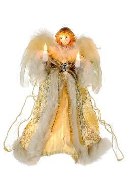 "10"" Ivory Gold Angel Tree Topper"