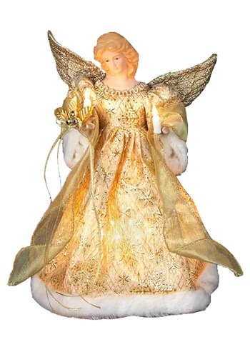 "12"" Gold Dress Angel Tree Topper"