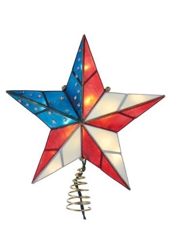 10 Light Capiz American Flag Star Treetopper
