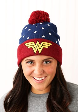 DC Wonder Woman Navy Red Gold Jr's Cuffed Knit Hat Update