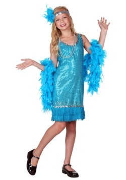 Turquoise Sequin and Fringe Flapper Costume For Childcc