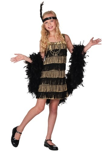 Girls Gold and Black Fringe Flapper Costume Update Main