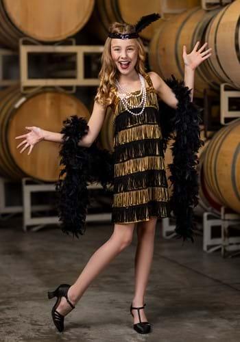 Girls Gold and Black Fringe Flapper Costume
