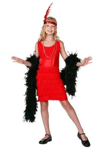 Red Fringe Flapper Costume For Child Update Main