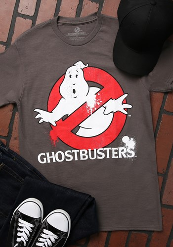 Men's Ghostbusters Distressed Logo Charcoal T-Shirt Updated