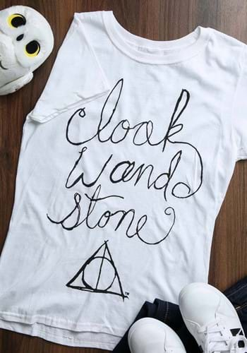 Harry Potter Deathly Hallows- Cloak, Wand, Stone White Tee