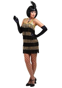 Women's Fringed Gold Flapper Costume Update Main