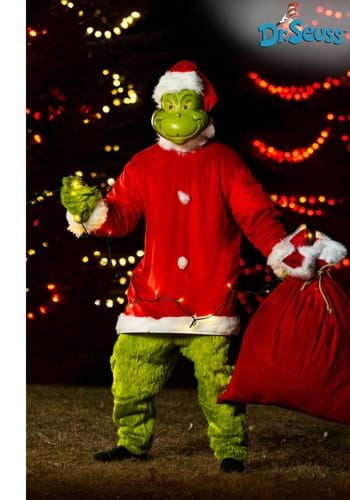 Mens The Grinch Santa Deluxe Jumpsuit with Mask update