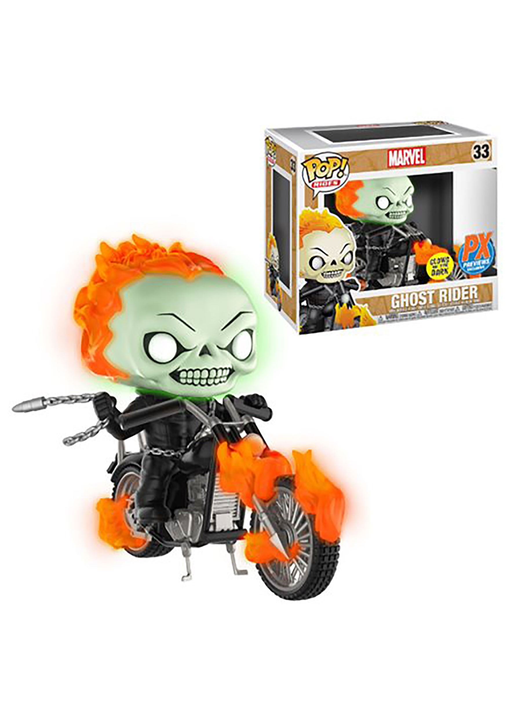 Marvel Classic Ghost Rider with Bike Glow-in-the Dark Figure EEDDC248594
