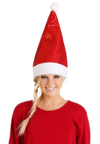 Adult Red Sequin Santa Hat