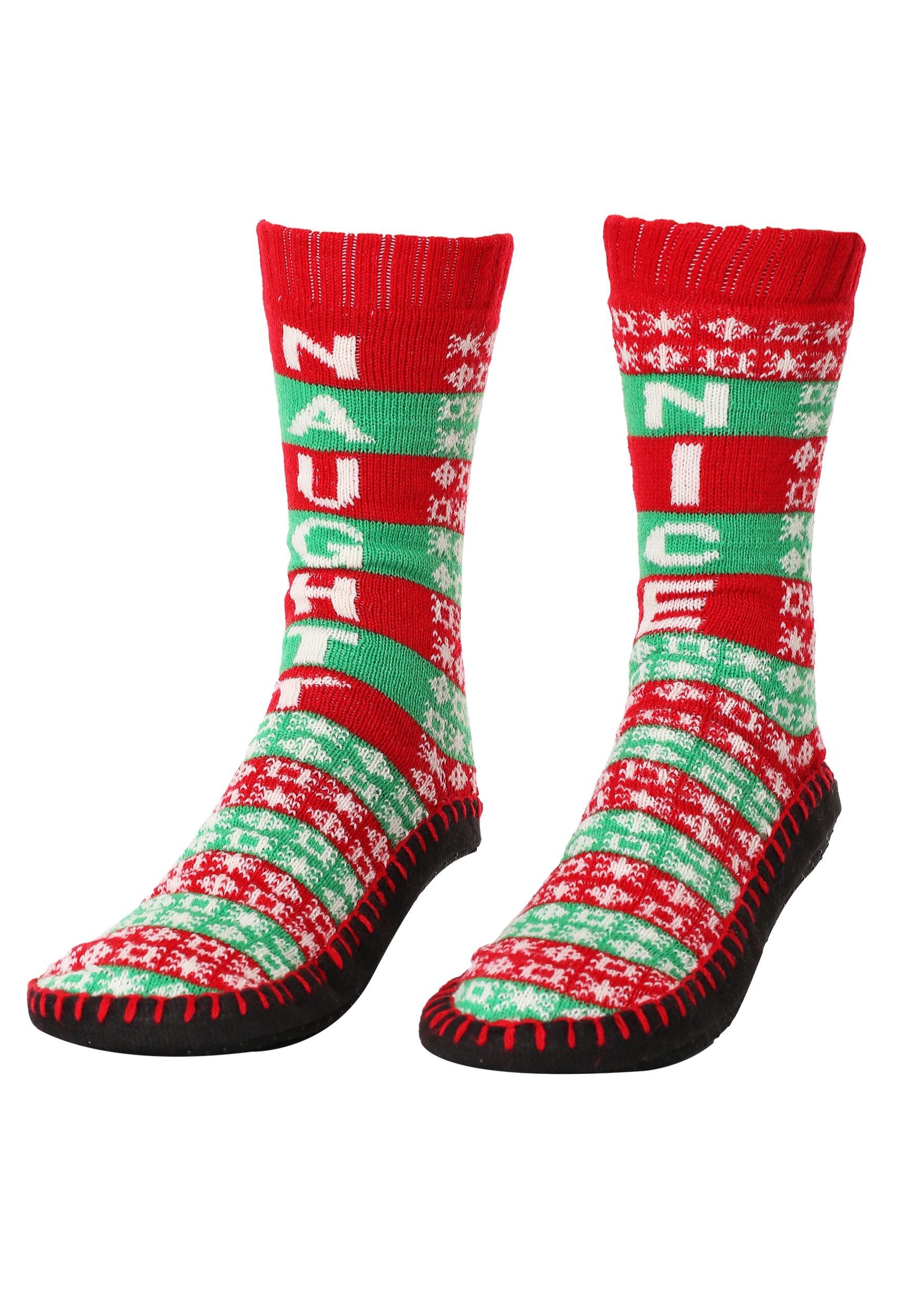 Women's Naughty or Nice Knit Christmas Slipper Socks