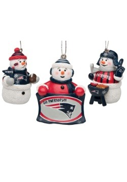 New England Patriots 3 Pack Snowman Gameday Ornaments
