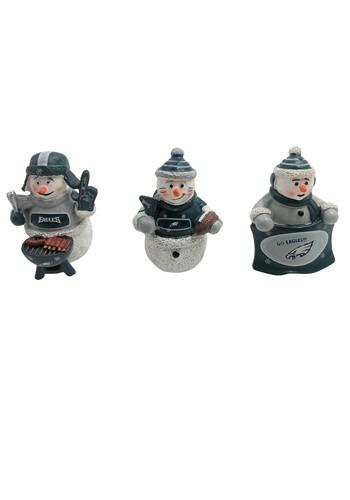 Philadelphia Eagles 3 Pack Snowman Gameday Ornament Set
